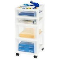 IRIS USA, 4-Drawer Storage Cart with Organizer Top, White