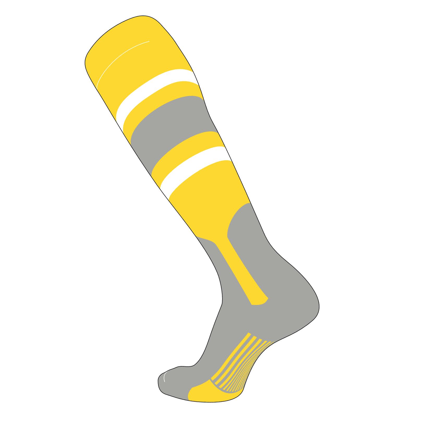 Grey TCK Elite Baseball Long Stirrup Socks GY E, 7in Bright Yellow,White
