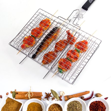 Portable BBQ Grilling Basket Stainless Steel Grills for Fish Vegetable Steak, Removable Wooden Handle