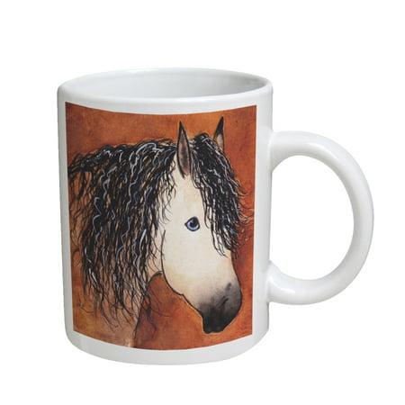 KuzmarK Coffee Cup Mug 11 Ounce -  Buttermilk Buckskin Quarter Horse Abstract Art by Denise (Horse Coffee Mug)