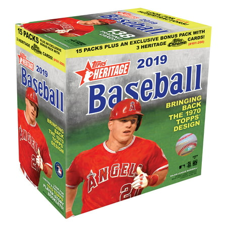 2019 Topps Heritage Mega Box- MLB Baseball Trading Cards- Find Autographs, Rookies | Exclusive Chrome Parallel Pack Included