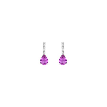 Diamond and Amethyst Earrings 14K White Gold 1.25 CT TGW - image 2 of 2