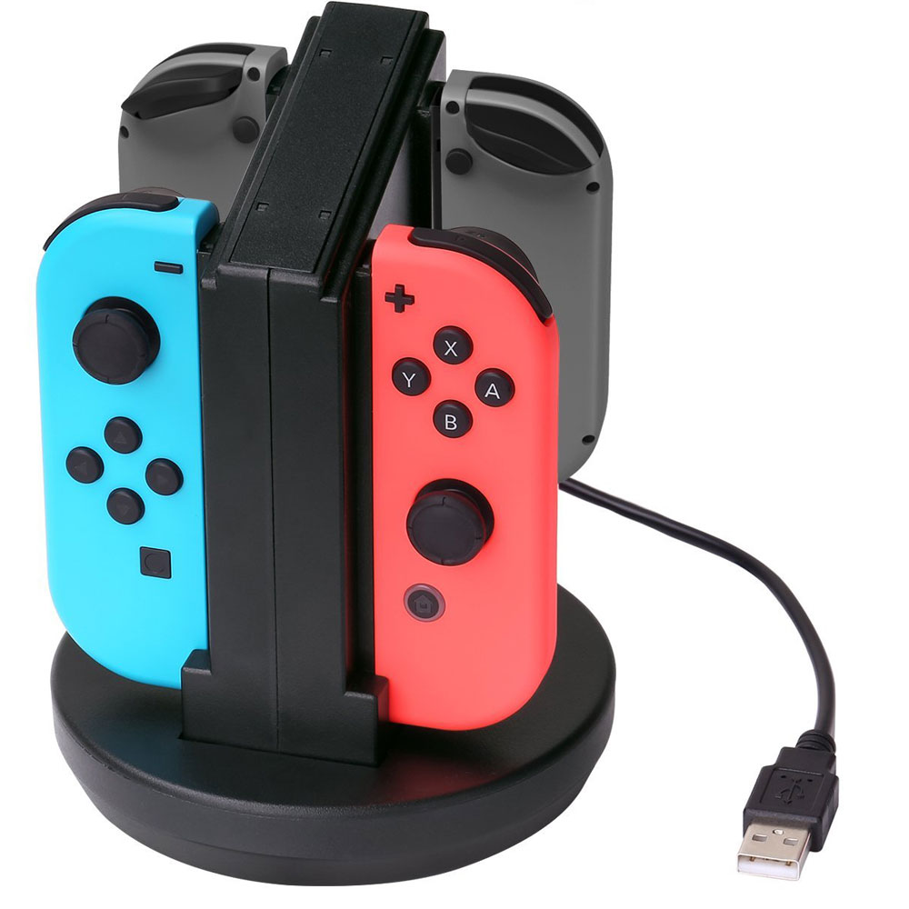 USB Powered Charging Dock Station Stand for Nintendo Switch 4 Joy-Con Controller