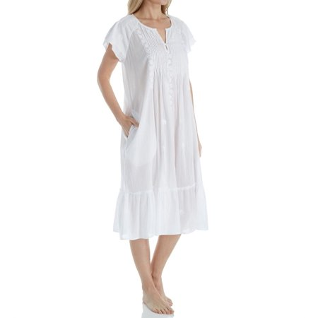 Women's La Cera 1166G 100% Cotton Woven Cap Sleeve Embroidered - White Cap And Gown