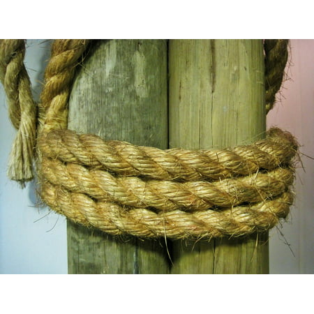 LAMINATED POSTER Post Strong Rope Tied Thick Cord Cable Nautical Poster 24x16 Adhesive Decal - Nautical Tie