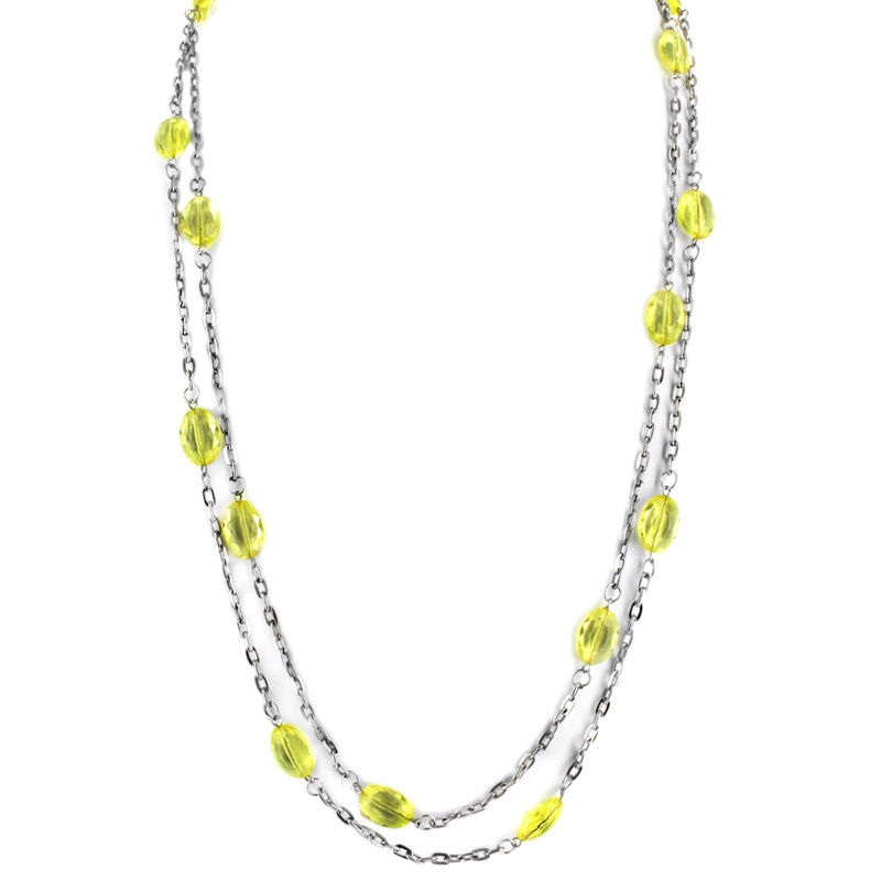 West Coast Jewelry Silvertone Double-strand Green Plastic Bead Necklace