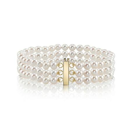 14K Gold 6.0-6.5mm Triple Japanese Akoya Saltwater White Cultured Pearl Bracelet - AAA Quality Aaa Akoya Pearl Bracelet