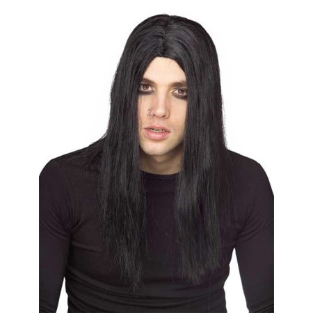 Mens Vampire Wig (Long Black Gothic Evildoer Mens Adult Vampire Costume)