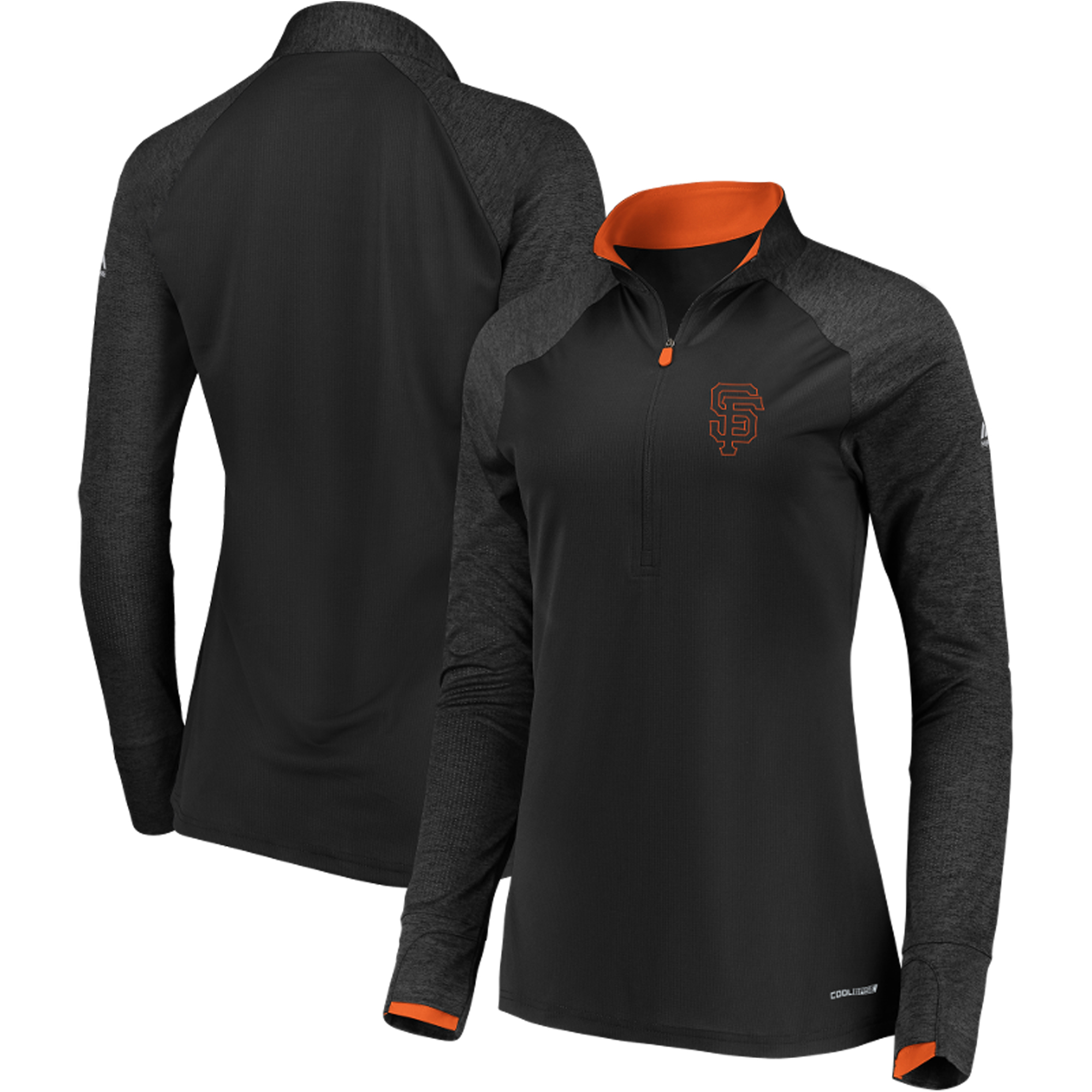 San Francisco Giants Majestic Women's Extremely Clear Cool Base Raglan 1 2-Zip Jacket Black by MAJESTIC LSG