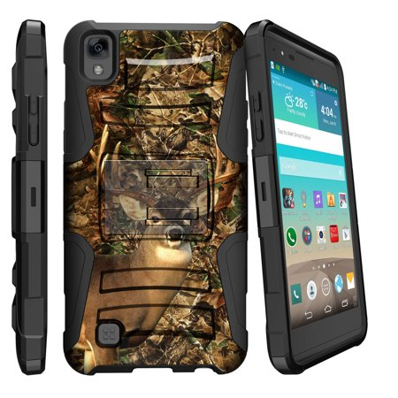 LG K6P Case | LG X Power Case [ Clip Armor ] Heavy Duty Rugged Case with a Built in Kickstand and Holster Belt Clip - Deer Hunting Leaves