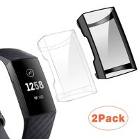 EEEKit Compatible with Fitbit Charge 3 Screen Protector, [2 Packs] Soft TPU Bumper Full Around Case Cover Protector for Fitbit Charge 3
