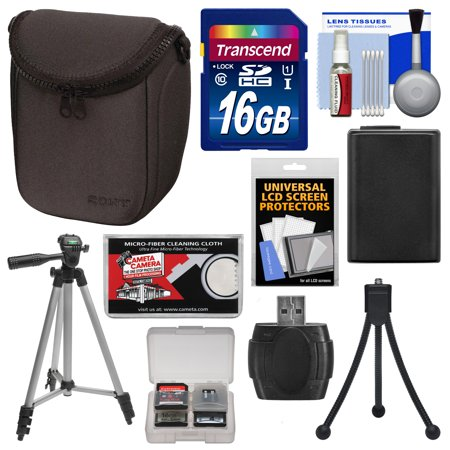 Sony LCS-BBF Soft Digital Camera Case (Black) with NP-FW50 Battery + 16GB Card + Tripod + Accessory Kit for Alpha NEX-3N, NEX-5N, NEX-5R, NEX-6, NEX-7