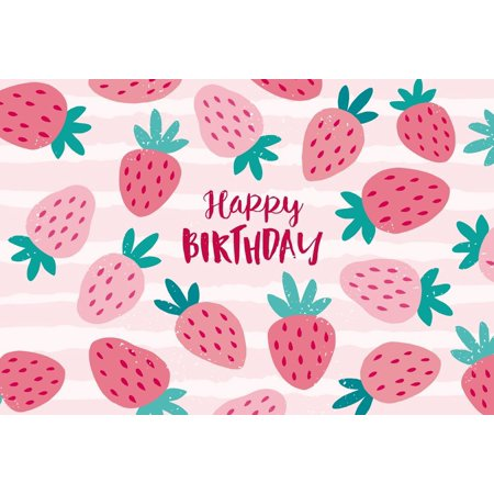 HelloDecor Polyster 7x5ft Photography Backdrops girl birthday banner photo background Strawberry backdrop back drop for pictures - Photobooth Back Drop