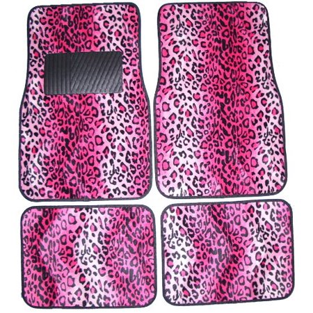 Front & Rear Floor Mats, High Back Seat Covers Interior Auto Accessories Combo Set - 9 Piece Safari Pink Leopard