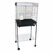 """YML 1914BLK 1/2"""" Bar Spacing Flat Top Bird Cage with Stand, Black"""