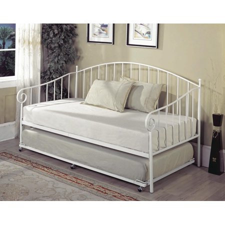 Twin Size White Metal Day Bed Frame With Roll-Out Trundle, Headboard, Footboard, Rails & Slats (Twin Daybed & Trundle)