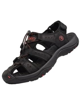 Men's Hiking Closed Toe Adjust Lock Lace Flat Sport Slip On Leather Sandals