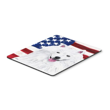 USA American Flag with American Eskimo Mouse Pad, Hot Pad or Trivet