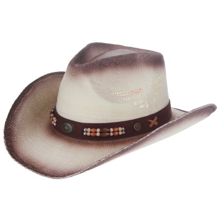 d80a7ac5d08 Enimay Men s Womens s Western Outback Straw canvas Cowboy Hat Dark Brown  Band One Size - Walmart.com