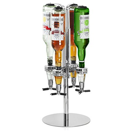 Qiilu 4 Bottle Wine Alcohol Liquor Dispenser With Rotating Stand Bar Caddy Revolving Holder For Party Tools