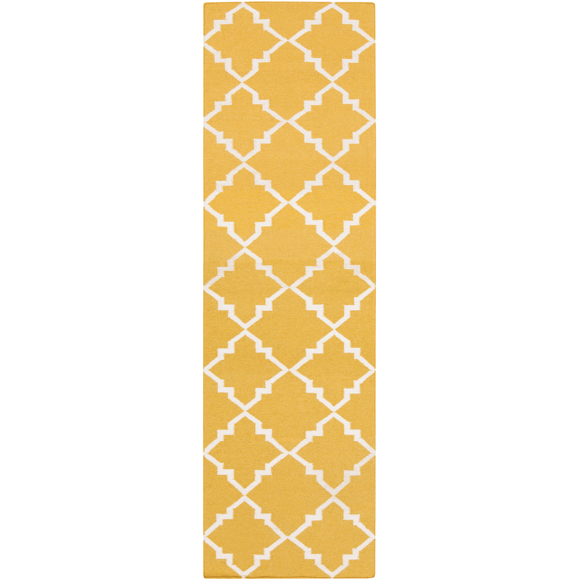 Libby Langdon Prichard Hand Woven Gate Scroll Flatweave Wool Runner, Gold