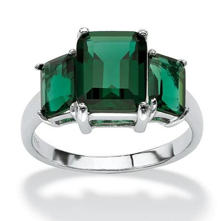 Swarovski Emerald Green Cufflinks - Emerald-Cut Simulated Green Emerald 3-Stone Ring in Sterling Silver