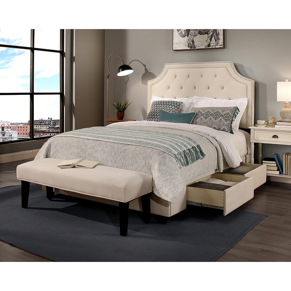 republic design house audrey tufted ivory kingsize storage bed with bench