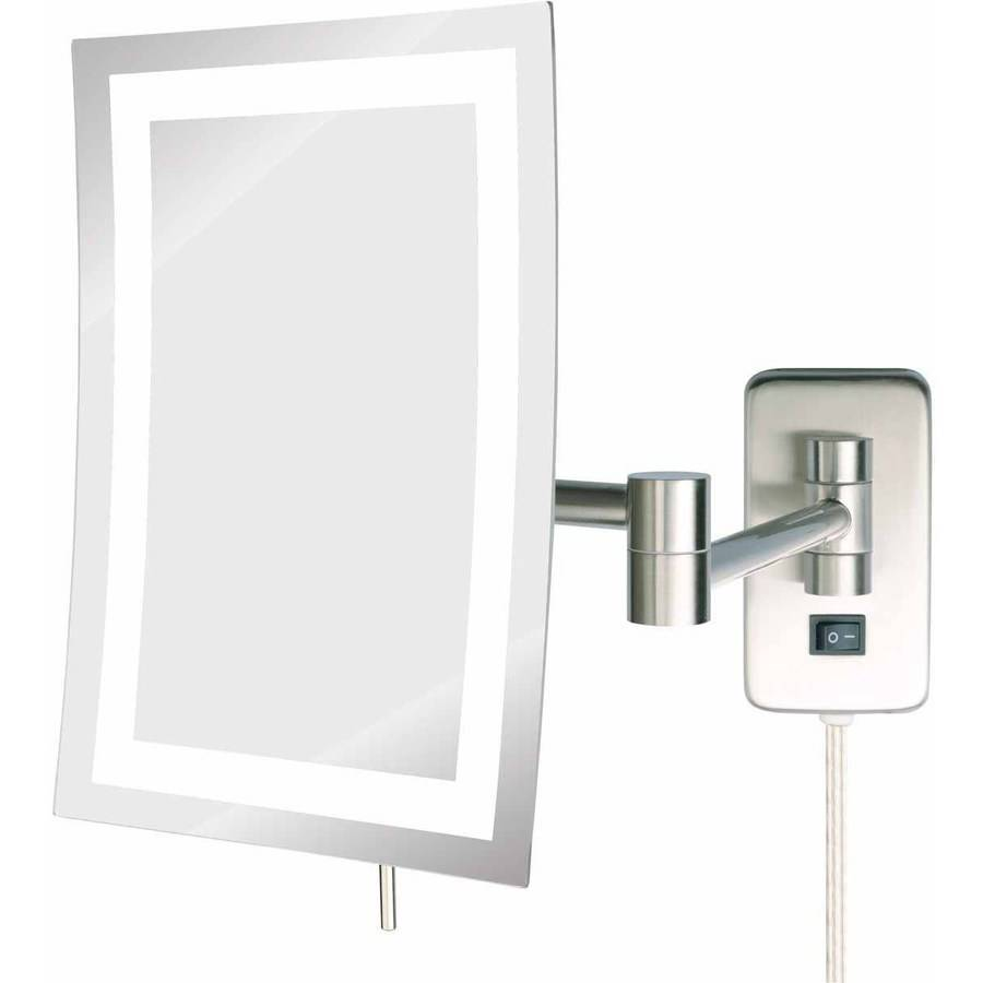 "Wall Mounted Magnifying Mirror 15x jerdon jrt710nl 6.5"" x 9"" led lighted wall mount rectangular"