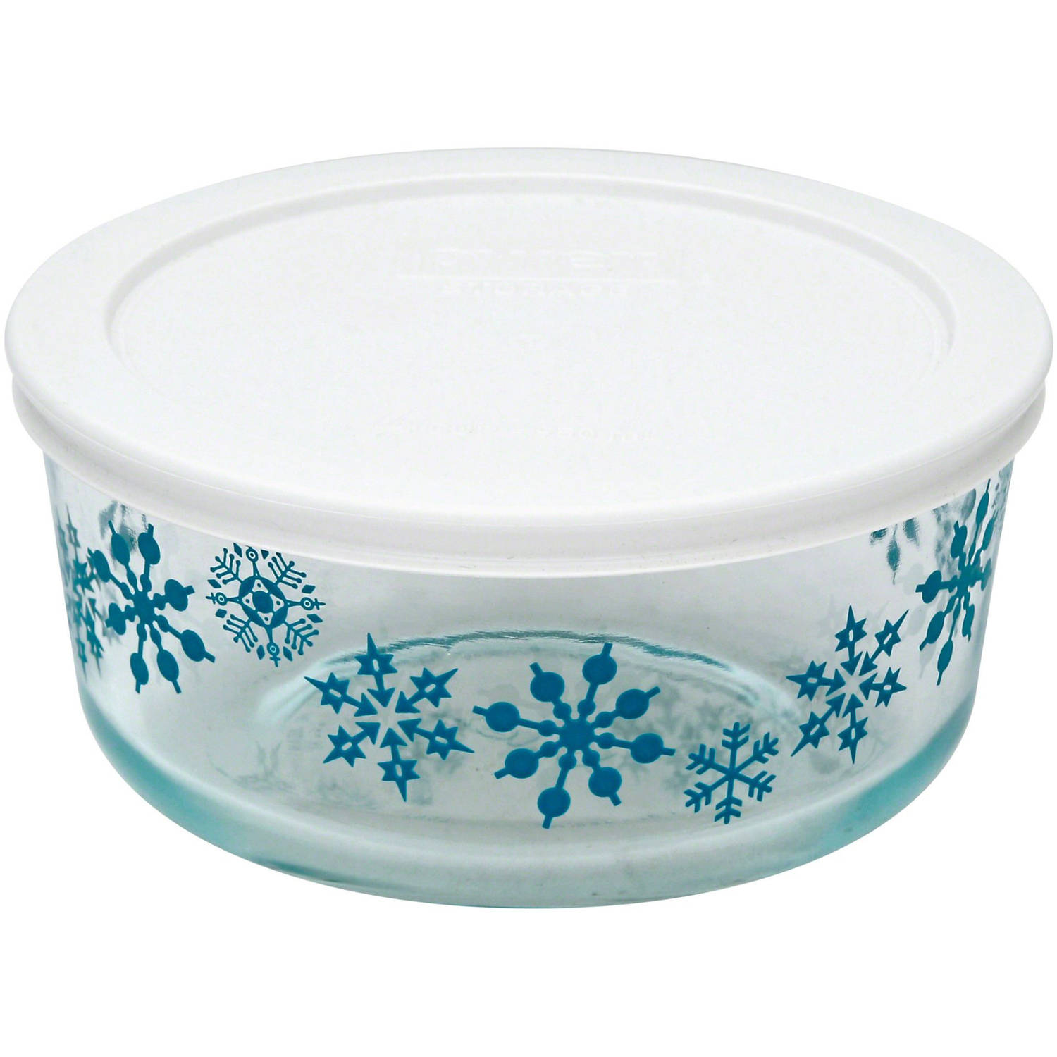 Pyrex Simply Store Holiday 4-Cup Round Storage Set with Plastic Covers, Set of 4, Multiple Patterns
