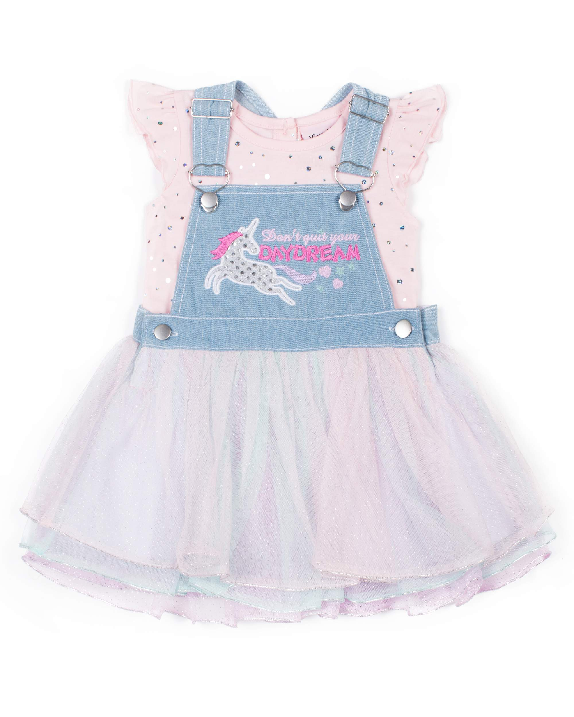 Short Sleeve Polka Dot T-shirt & Glitter Tulle Denim Skirtall, 2pc Outfit Set (Baby Girls & Toddler Girls)