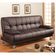 Bowery Hill Faux Leather Tufted Sleeper Sofa in Brown