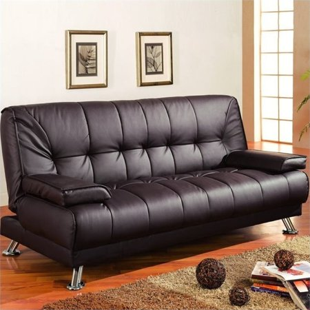 Bowery Hill Brown Faux Leather Convertible Sofa (Brown Faux Leather Sofa)
