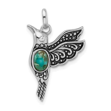 925 Sterling Silver /oxidized Recon. Turq/cz Hummingbird Pendant Charm Necklace Bird Cz Silver Bird Pendant