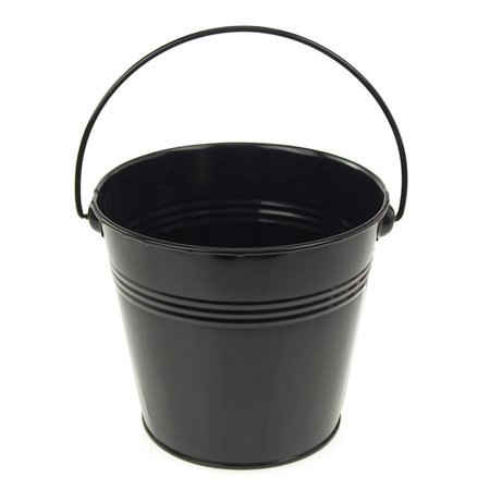 Metal Pail Buckets Party Favor, 5-inch, Black - Bucket Pail