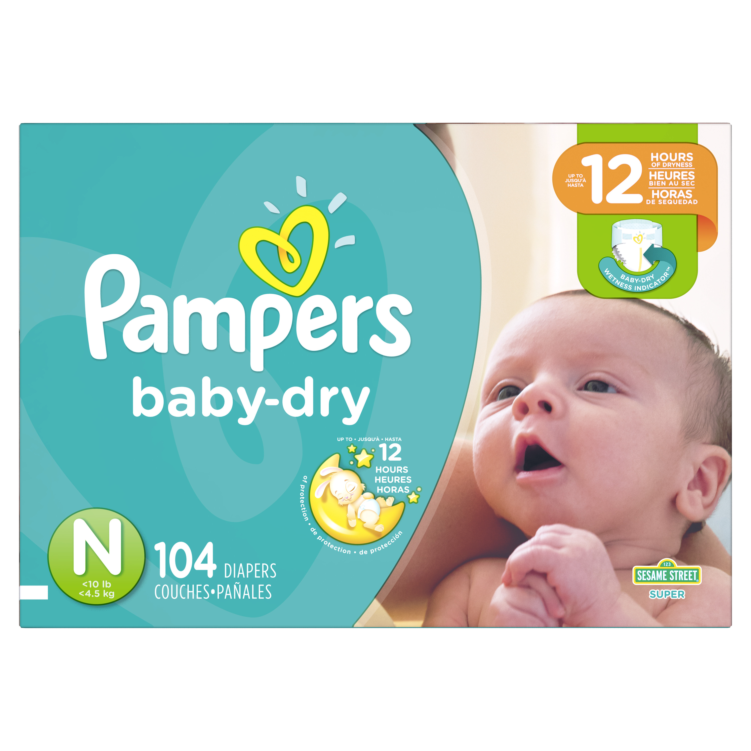 Pampers Baby Dry Diapers Size 0 104 Count Walmartcom