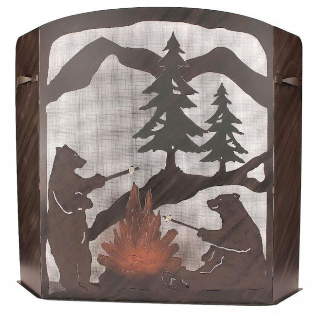 Coast Lamp Manufacturer 15-R28C-S Small Iron Bears Roasting Marshmallows Scene Fireplace Screen by Coast Lamp Manufacturer