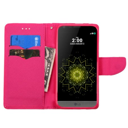Insten Folio Leather Wallet Case with card slot For LG G5 - Pink - image 3 de 4