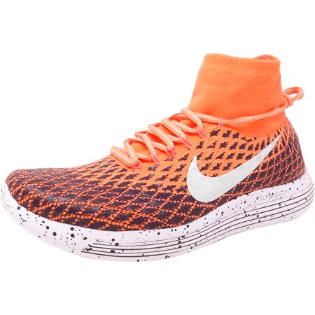 4c76e5d8b74b4 Nike Women s Lunarepic Flyknit Shield Bright Mango   Metallic Silver  Ankle-High Fabric Running Shoe ...