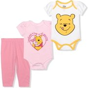 Disney Baby Girl's 3-Pack Winnie The Pooh Creeper Onesies and Legging Pant Set