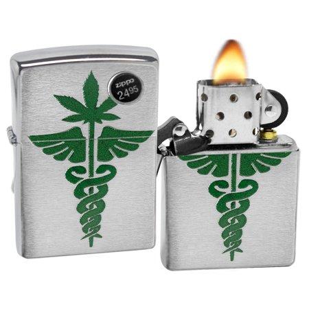 Zippo 5912 Medical Marijuana Brushed Chrome Finish Lighter New