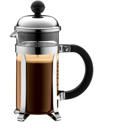 Bodum CHAMBORD French Press Coffee Maker, Glass, 0.35 L, 12 Oz, 3 Cup, Chrome Bodum 3 Cup Coffee