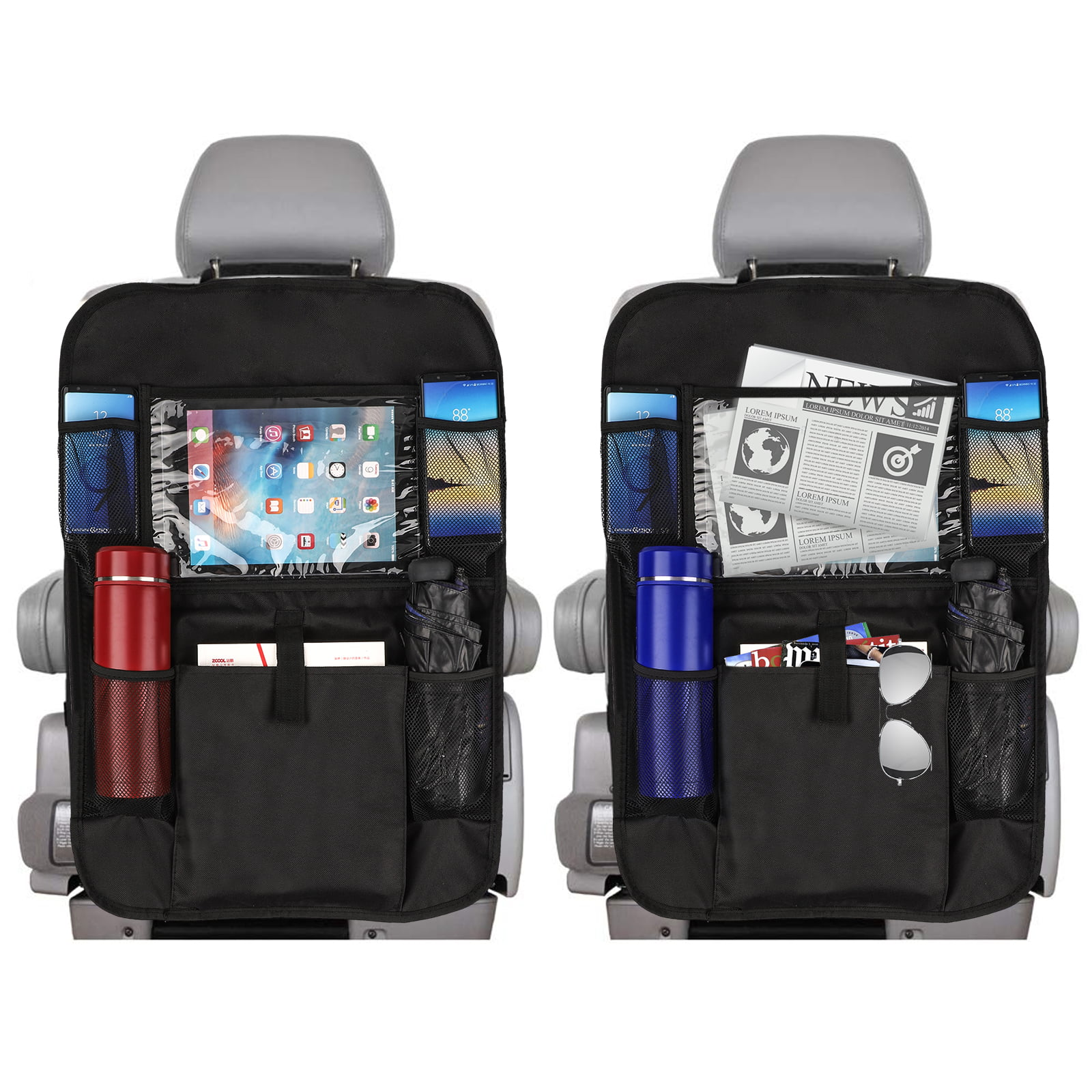 Black Car Backseat Organizer with Touch Screen Tablet Holder 9 Storage Pockets Kick Mats Car Seat Back Protectors Great Travel Accessories for Kids and Toddlers