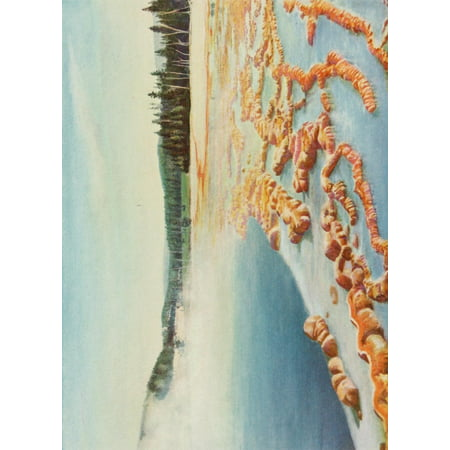 The Wonders of the World 1910 The Sapphire Hot Springs Yellowstone Park Stretched Canvas - Unknown (24 x (Best Natural Hot Springs In The World)