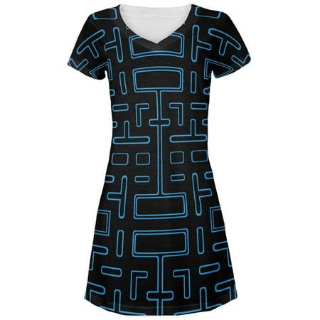 Video Game Maze All Over Juniors V Neck Dress