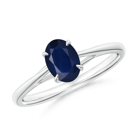- September Birthstone Ring - Prong-Set Oval Sapphire Cathedral Solitaire Ring in Platinum (7x5mm Blue Sapphire) - SR1214S-PT-A-7x5-7