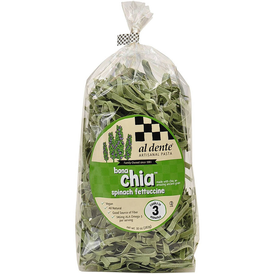 Image of Al Dente Bona Chia Spinach Fettuccine Pasta, 10 oz, (Pack of 6)