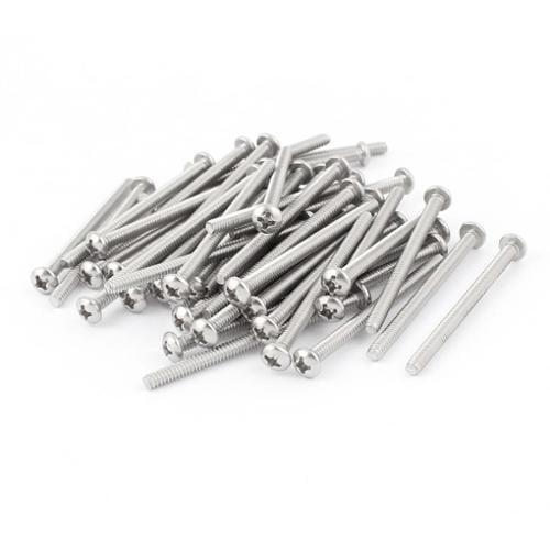 "50 Pcs #6-32 x 2"" Stainless Steel Truss Head  Machine Screws Fasteners"