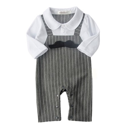 StylesILove 3D Mustache Long Sleeve Baby Boy Romper Onesie Clothing Set - 2 Colors (18-24 Romper, White/Dark Grey) Long Romper Set