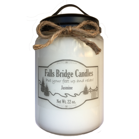Jasmine Scented Jar Candle, Large 22-Ounce Soy Blend, Falls Bridge Candles