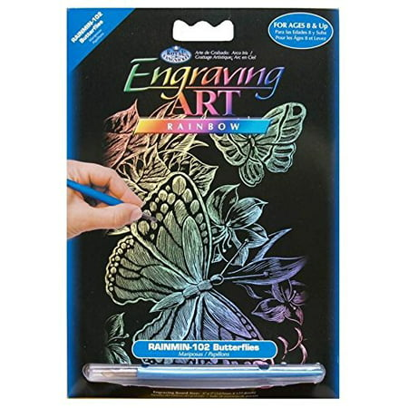 (Royal Brush 5 by 7-Inch Rainbow Foil Engraving Art Kit, Mini, Butterflies)